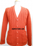Cable Cardi Rust
